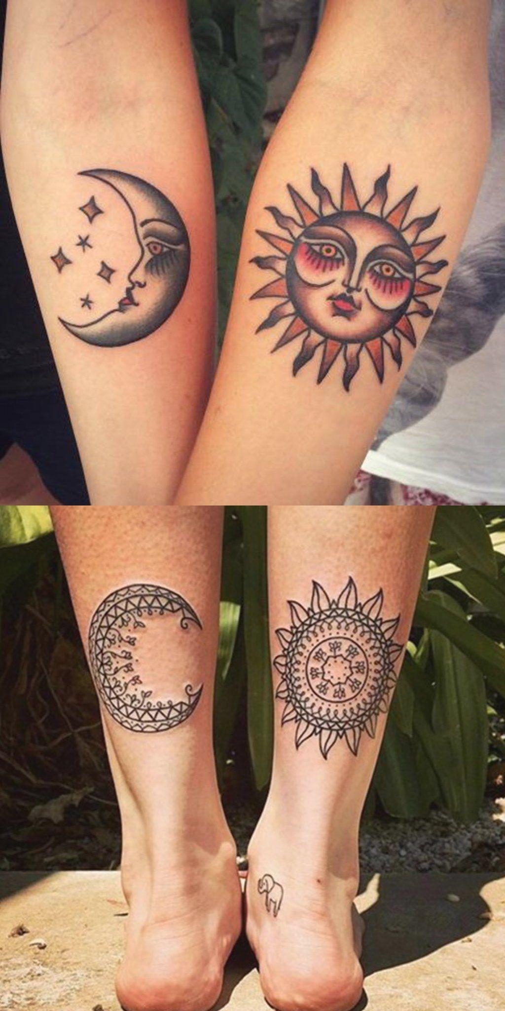 Cool Tribal Sun Moon Matching Tattoo Ideas Fo Best Friends