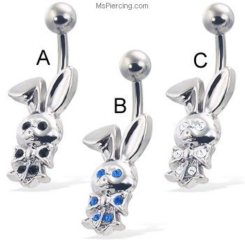 Belly button ring with jeweled bunny #mspiercing #piercings