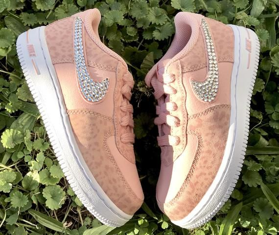 40dcaa80dd Nike Swarovski Crystal Baby Cheetah Print Pink Air Force 1 Toddler Bling  Sneakers