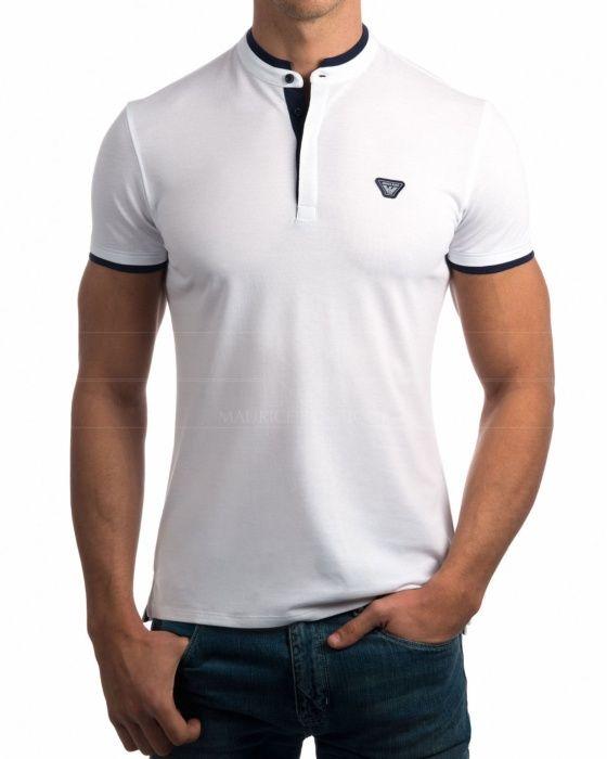 6e2d628d05419 Polos Armani Blanco - Cuello Mao Camisa Cuello Mao Hombre