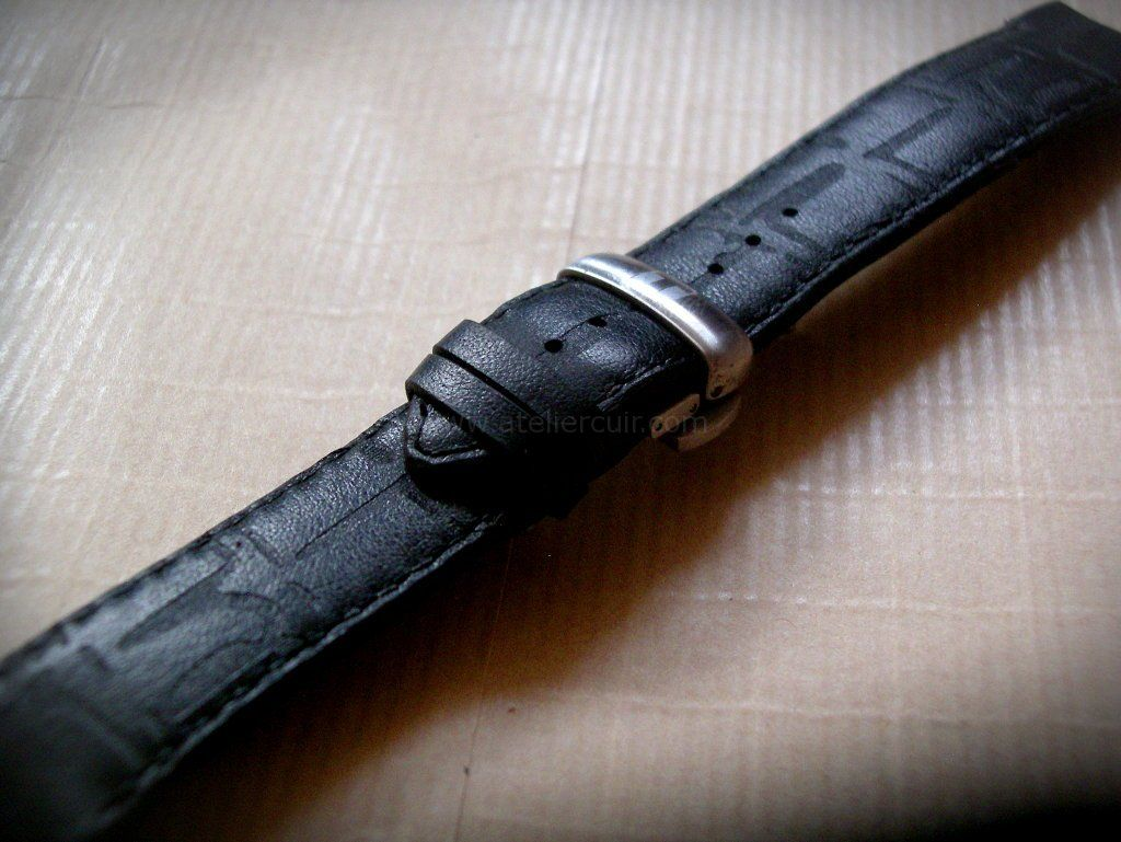 Bracelet Montre Strap En Cuir Noir Pour Montre Tissot
