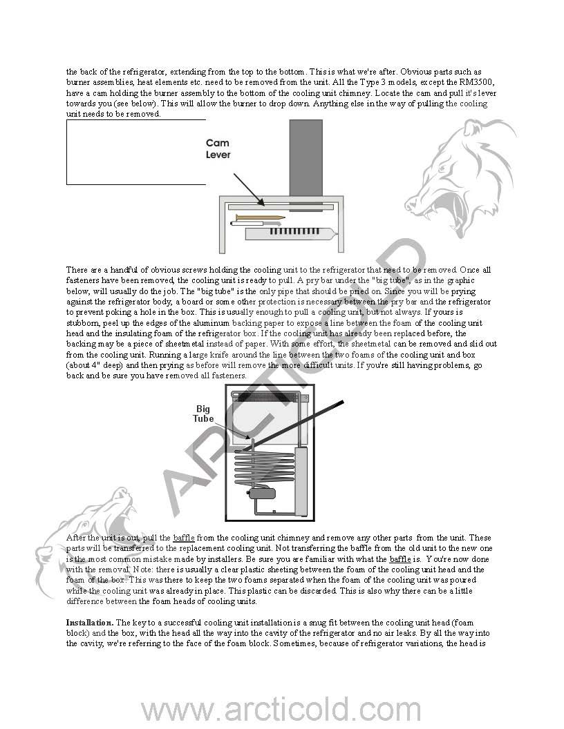 Page 2 Type 3 Install Instructions For Dometic One Door Model