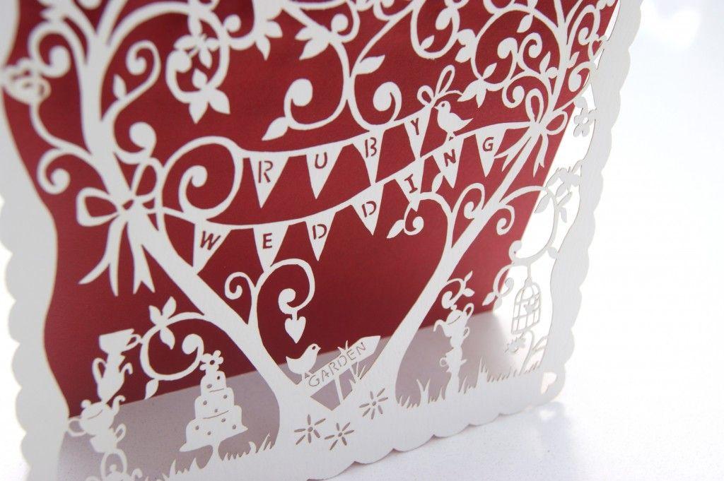 Laser cut whimsical Ruby Wedding Invitations - Hummingbird Card ...