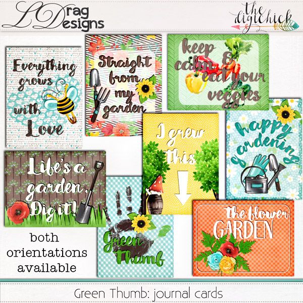 Green Thumb: Journal Cards by LDrag Designs