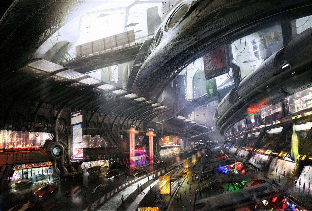 Futuristic City by Neisbeis [( Science-fiction, dystopia, future noir, Blade Runner, cyberpunk, night skylines, dark city, Metropolis )]