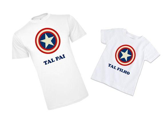 2ff1f87d5988bf Tal Pai Tal Filho Capitão América   Camiseta Personalizada