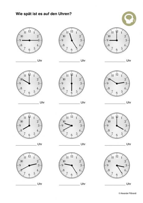 Uhr lesen - Aphasie | Die Uhrzeit | Pinterest | Schule, Mathe und ...