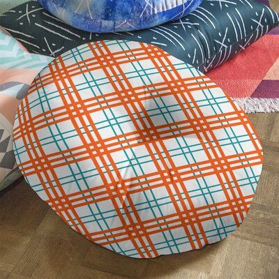 """East Urban Home Miami Football Luxury Round Pillow Cover & Insert, Polyester/Polyfill/Polyester/Polyester blend in White/Aqua/Orange, Size 30"""" x 30"""""""