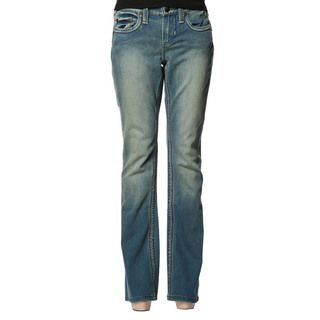 Stitch's Women's Blue Distressed Wash Flared Bell Jeans Shop