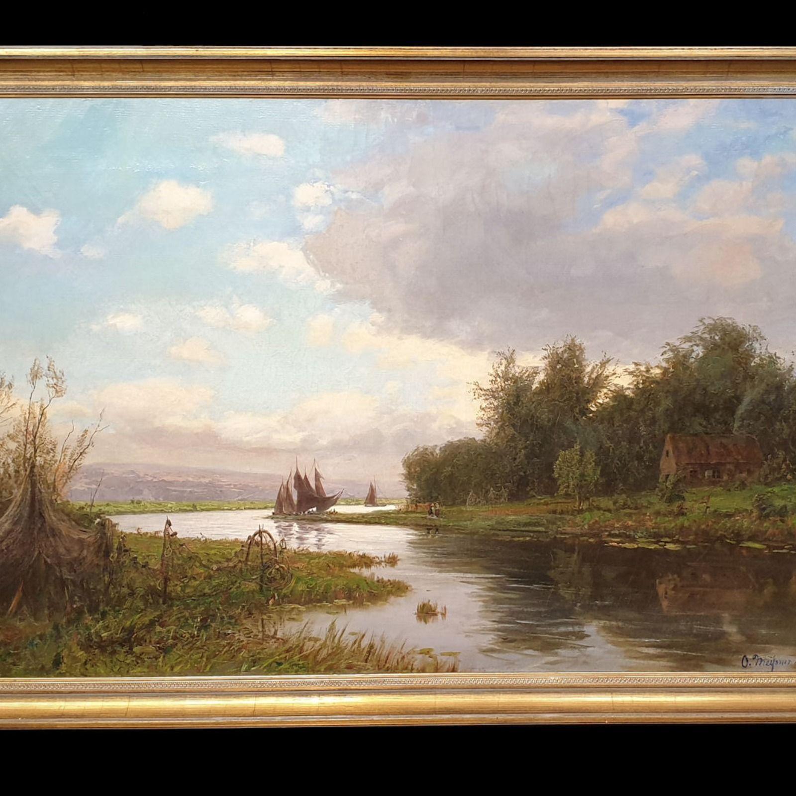 Am Niederrhein Antik Gemälde Olga Meissner 1895 Gemälde Ölgemälde Galerierahmen