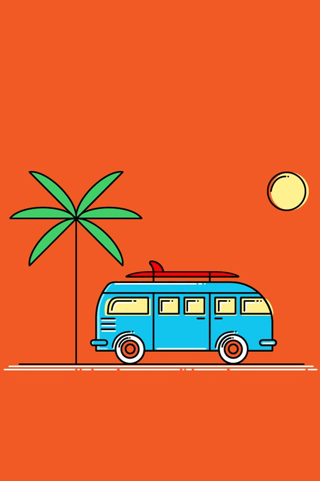The Camper Vintage Posters Retro Wallpaper Colorful Backgrounds