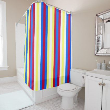 Yellow Red White And Blue Stripes Shower Curtain Zazzle Com