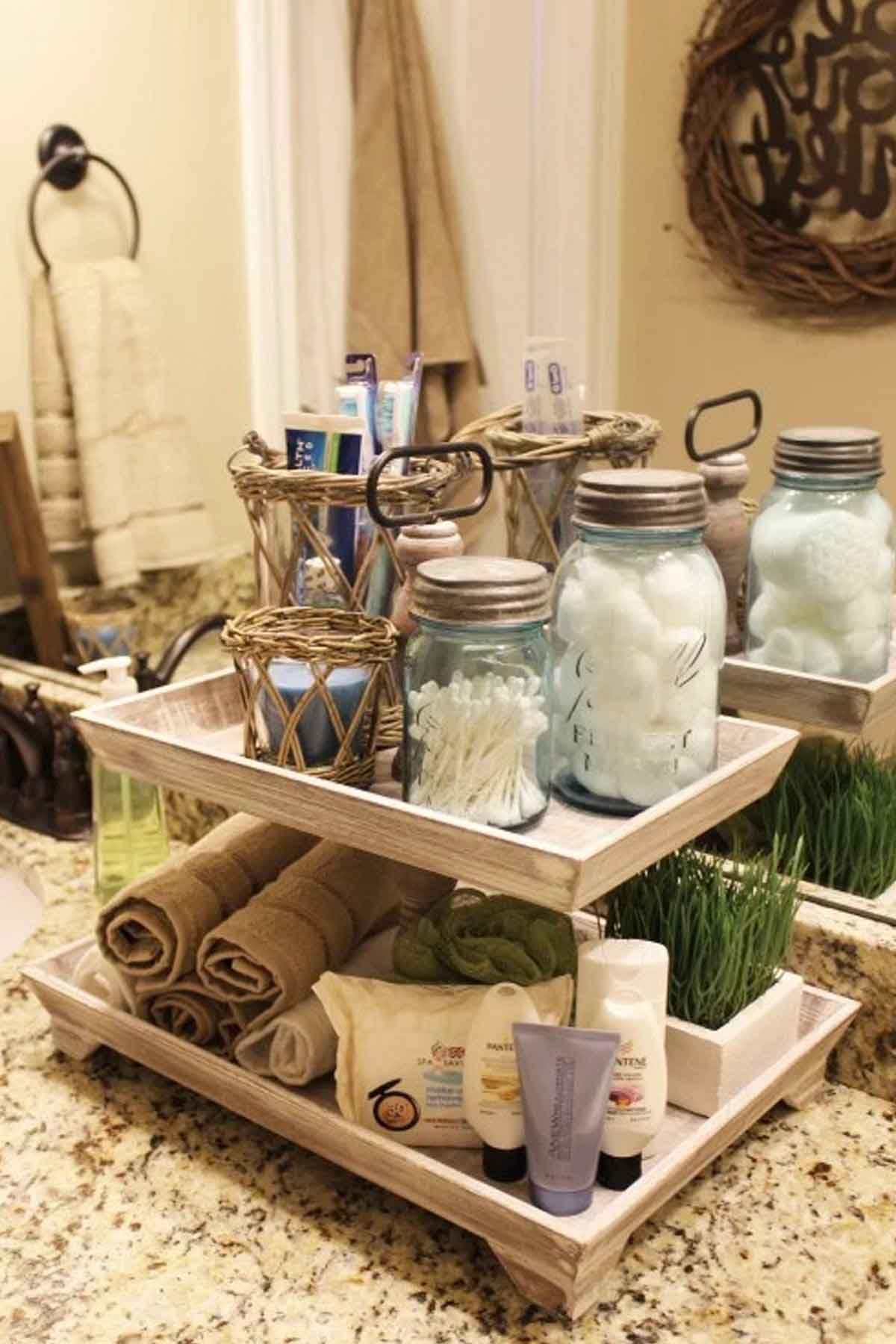 Bathroom Organization Mason Jars The Bloggers Behind The Diy Blog Diy Playbook Show You How To Make A Mason Jar Organizer In Farmhouse Bathroom Organizers Modern Bathroom Design Small Bathroom Organization