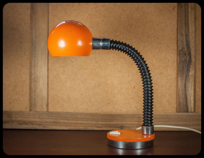 Vintage Table Lamp Lamp Desk Lamp Bedside Lamp Hinged Gooseneck Orange Metal Lampshade Space Age Orange 60 S In 2020 Vintage Table Lamp Table Lamp Bedside Lamp