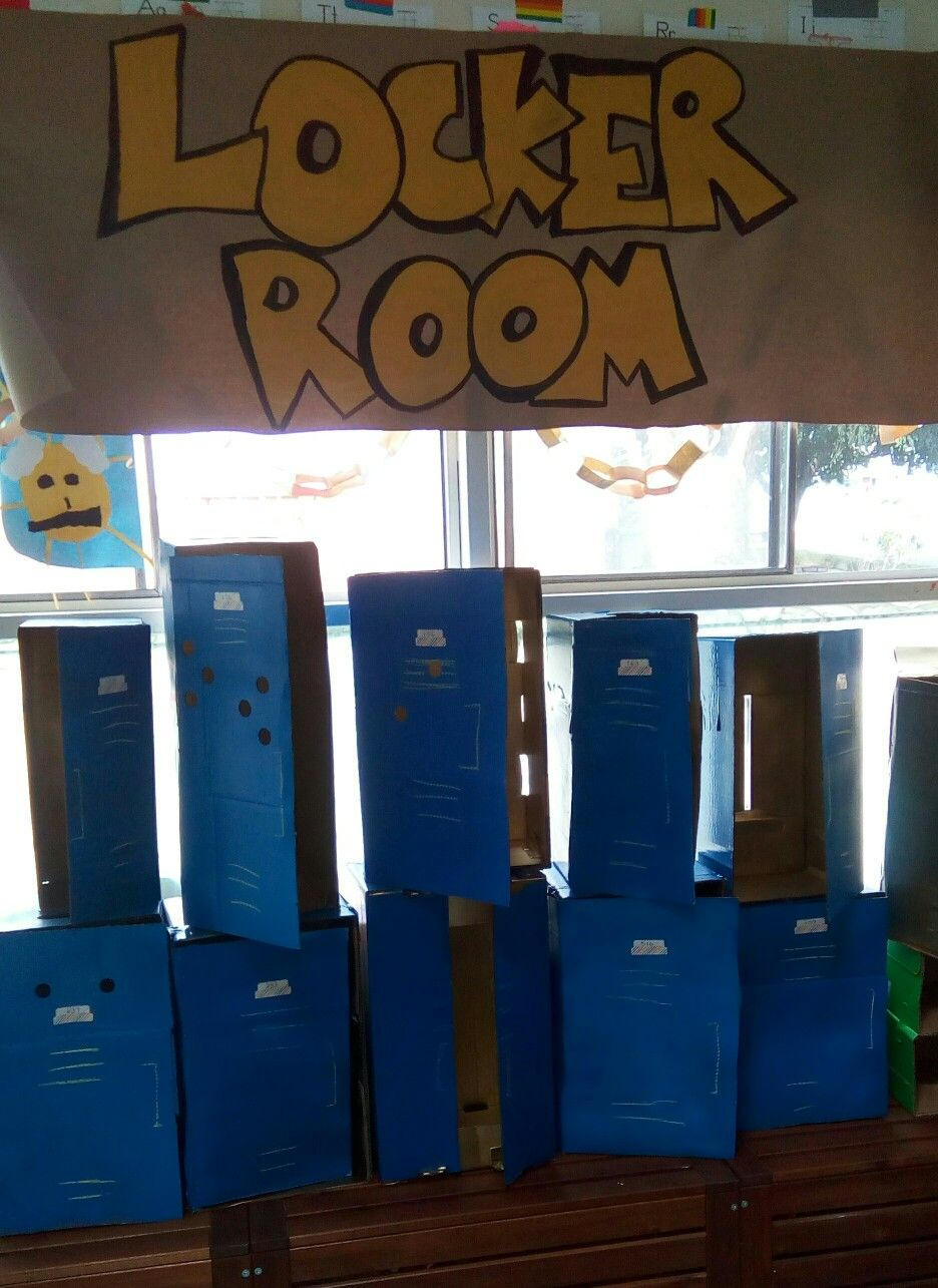 diy cardboard lockers free boxes from aldi that i taped. Black Bedroom Furniture Sets. Home Design Ideas