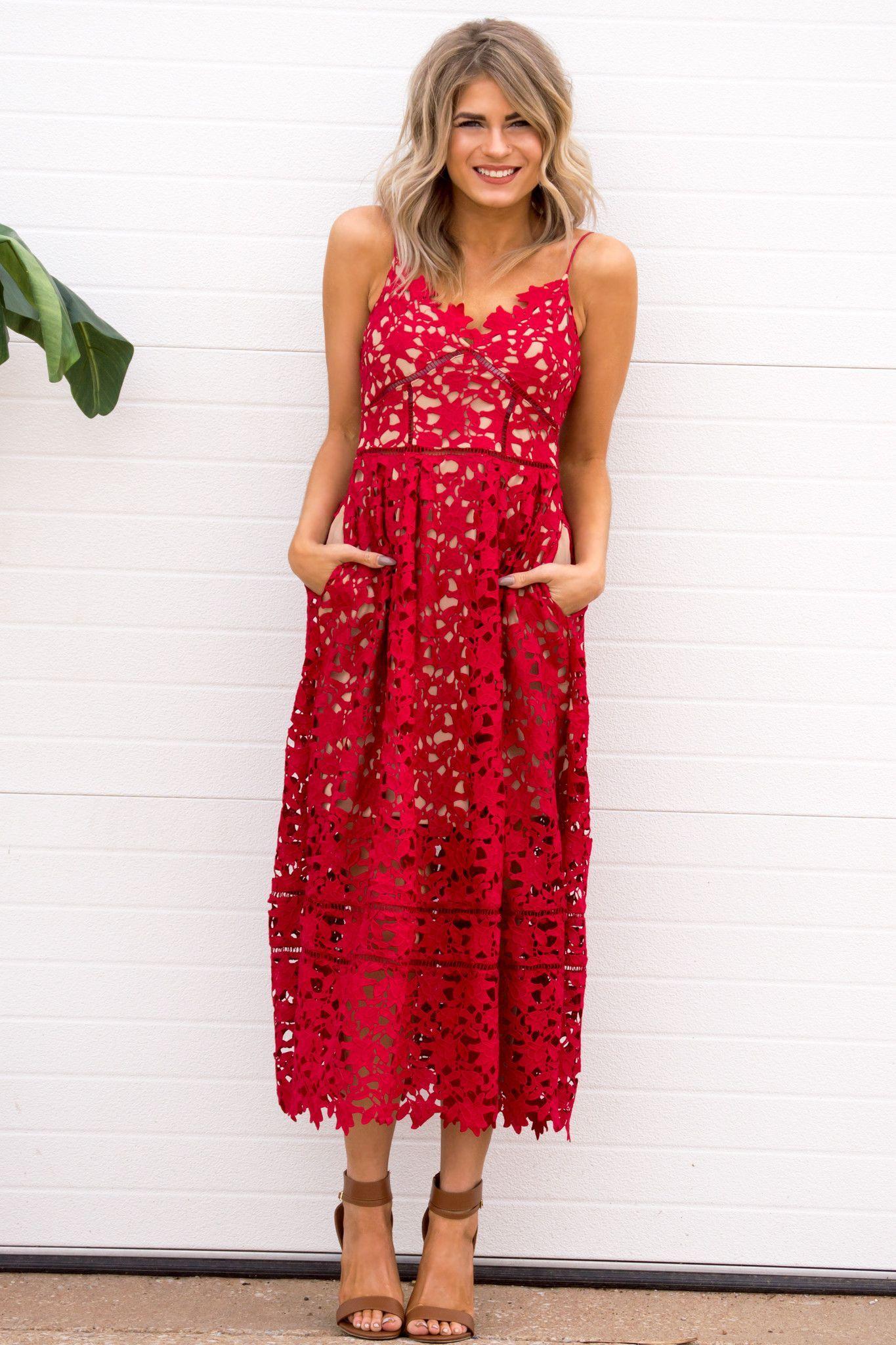 Celise Midi Red Crochet Dress Dresses Galore Red Crochet Dress