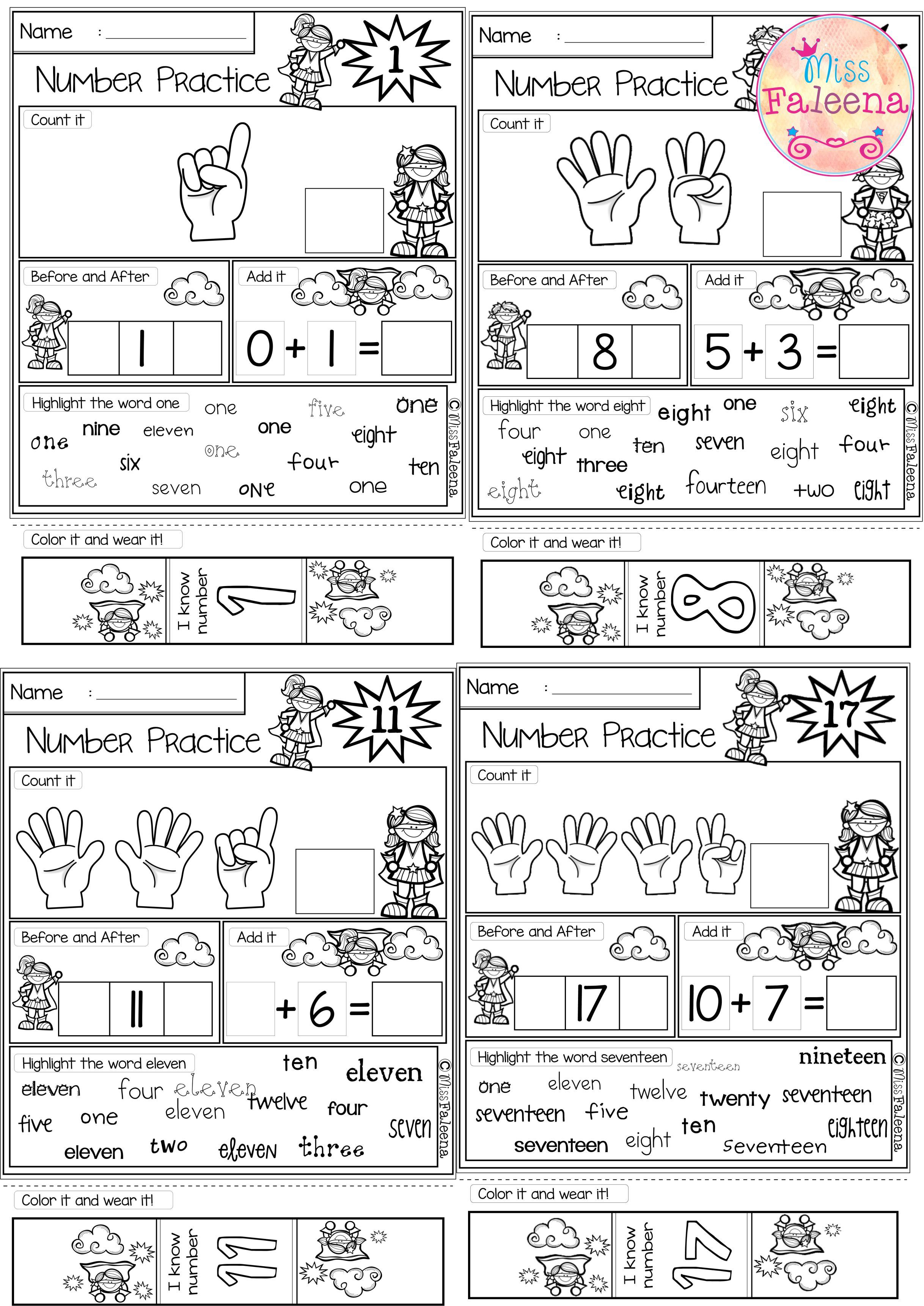 There Are 20 Pages 1 20 Number Practice Worksheets In This Product Al Number Worksheets Kindergarten Numbers Kindergarten Counting Worksheets For Kindergarten