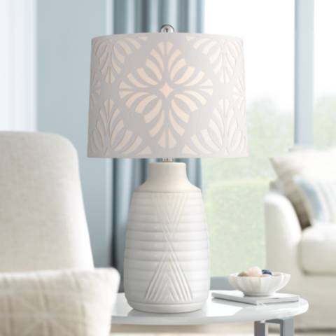 Abigail White Ceramic Table Lamp With Cutout Patterned Shade 64j44 Lamps Plus Ceramic Table Lamps White Table Lamp Clear Glass Table Lamp
