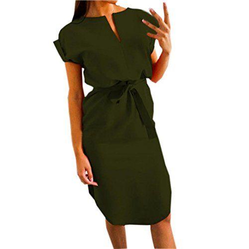 viele möglichkeiten sehr günstig reduzierter Preis Kanpola Damen Knielang Kleider Frauen Festlich Elegant ...
