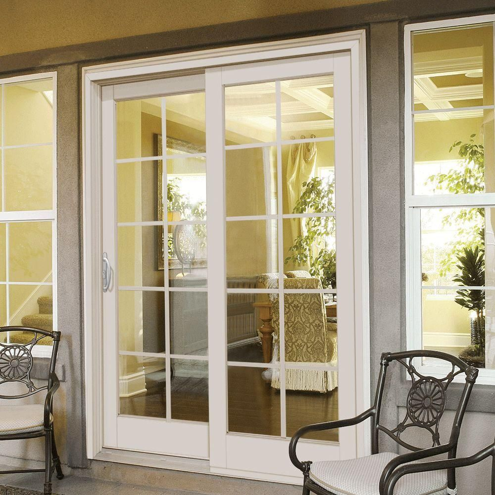 Mp Doors 60 In X 80 In Smooth White Right Hand Composite Sliding Patio Door With 10 Lite Gbg G5068r002w2 The Home Depot French Doors Exterior French Doors Interior Sliding Patio Doors