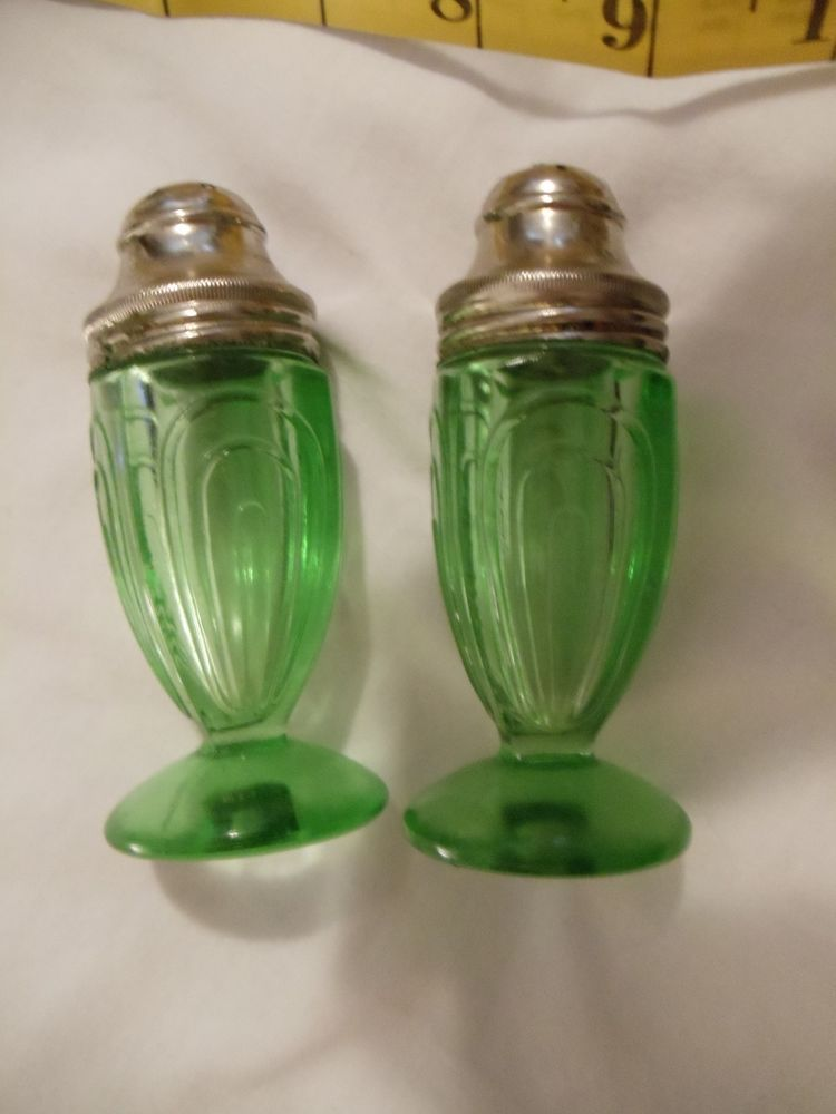 Depression Vaseline Green Glass Salt & Pepper Shakers with