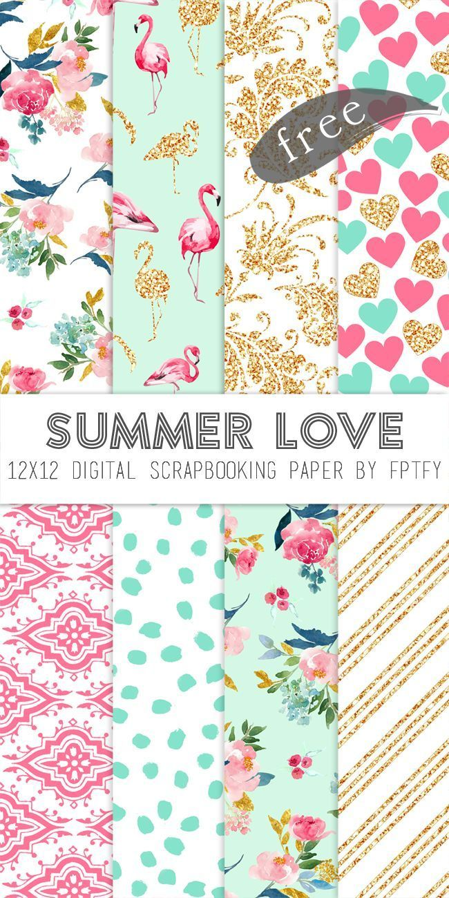 Free Digital Scrapbook Paper Summer Love Free Printables