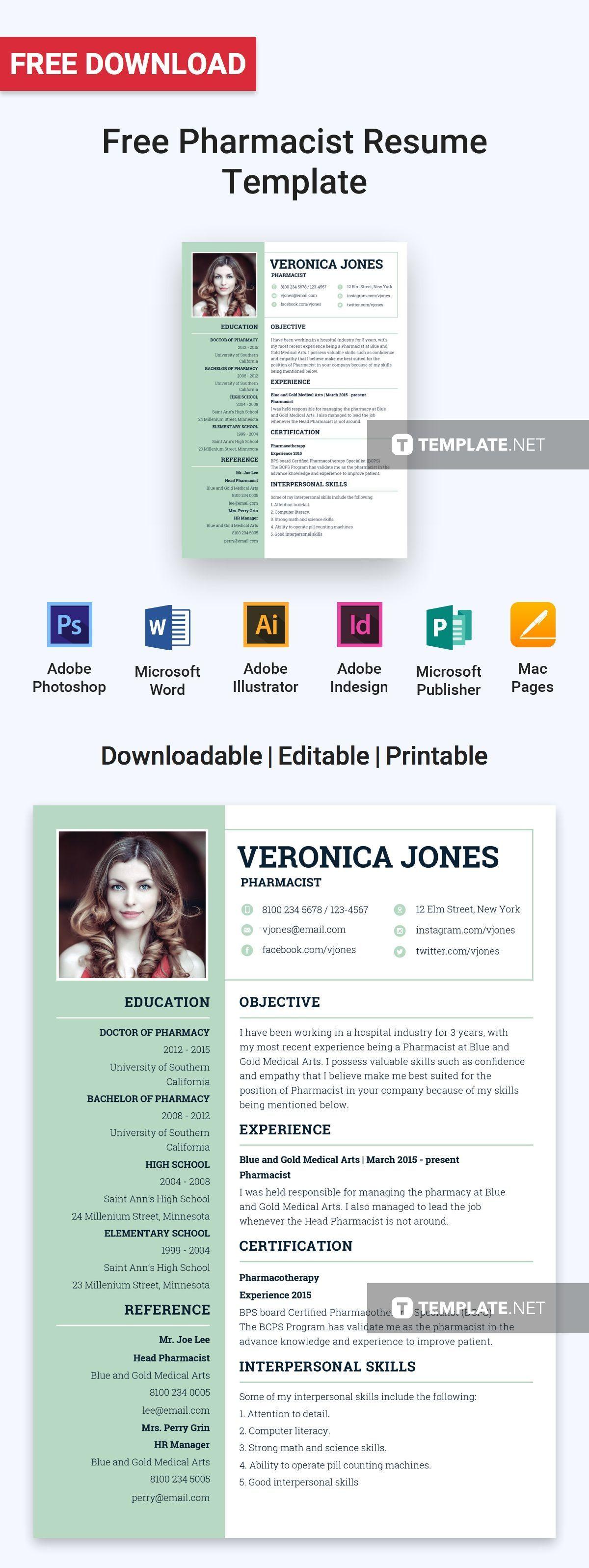 Modern resume template free, Resume template, Resume