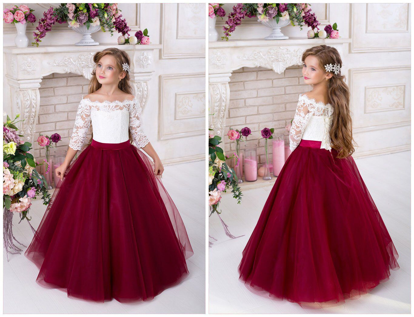 Pin By Nilaby Charbonier On Our Wedding Ideas Long Flower Girl Dresses Flower Girl Dresses Champagne Burgundy Flower Girl Dress