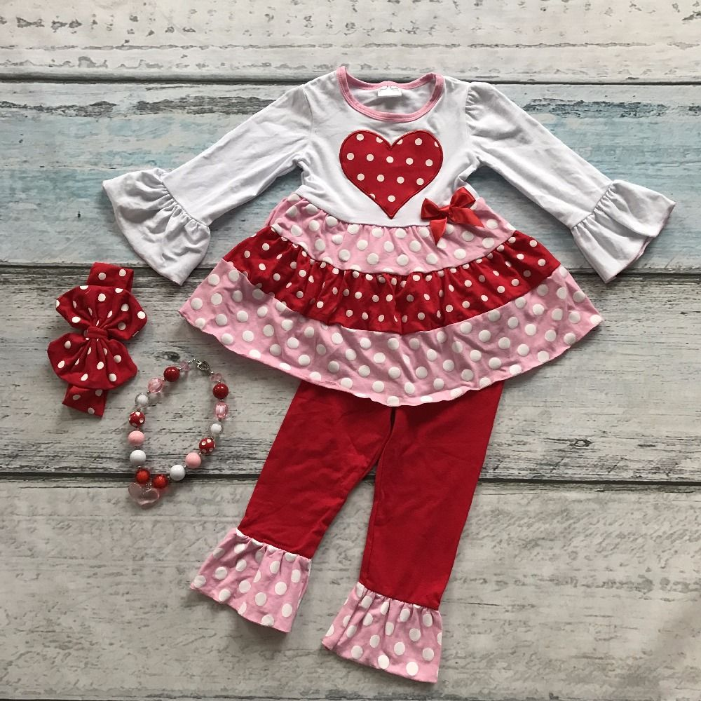 Cotton Valentine S Day Design Girls Outfits Kids Clothing Long