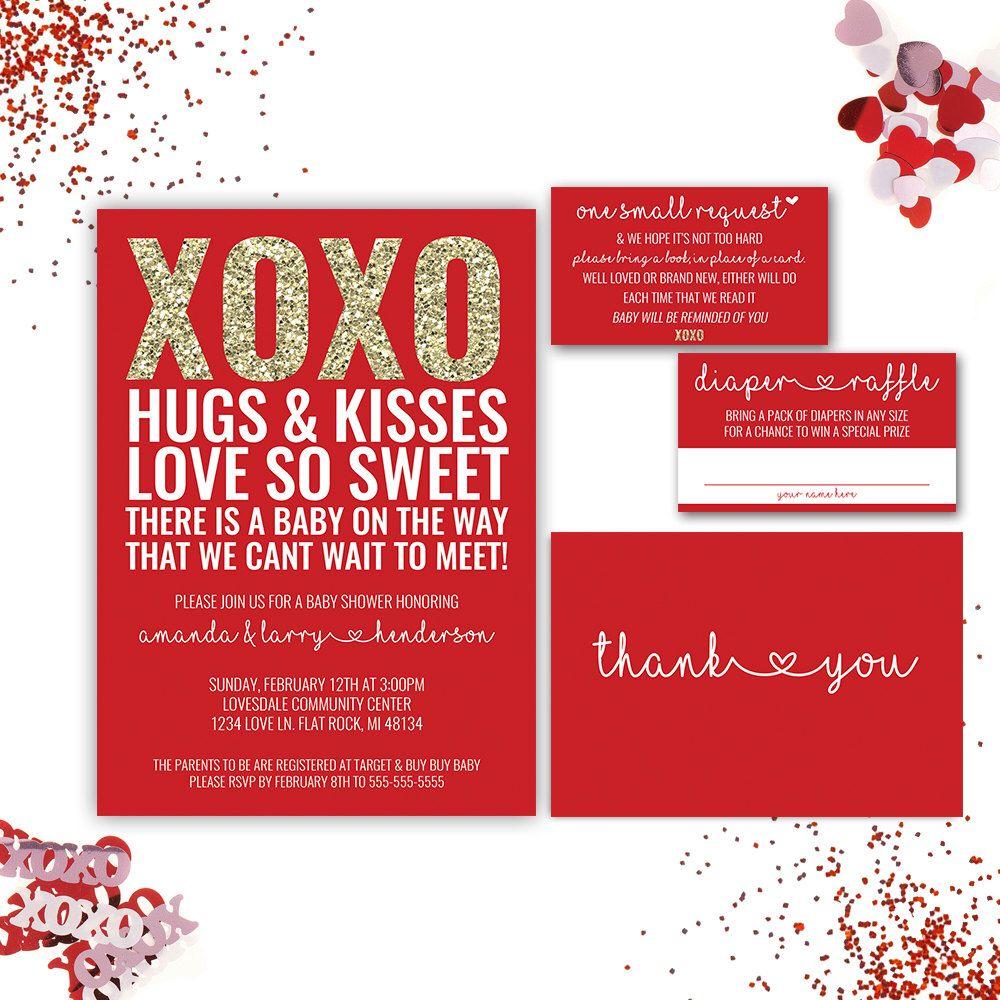 Valentine Baby Shower Invitation, Red Baby Shower Invitation, XOXO ...