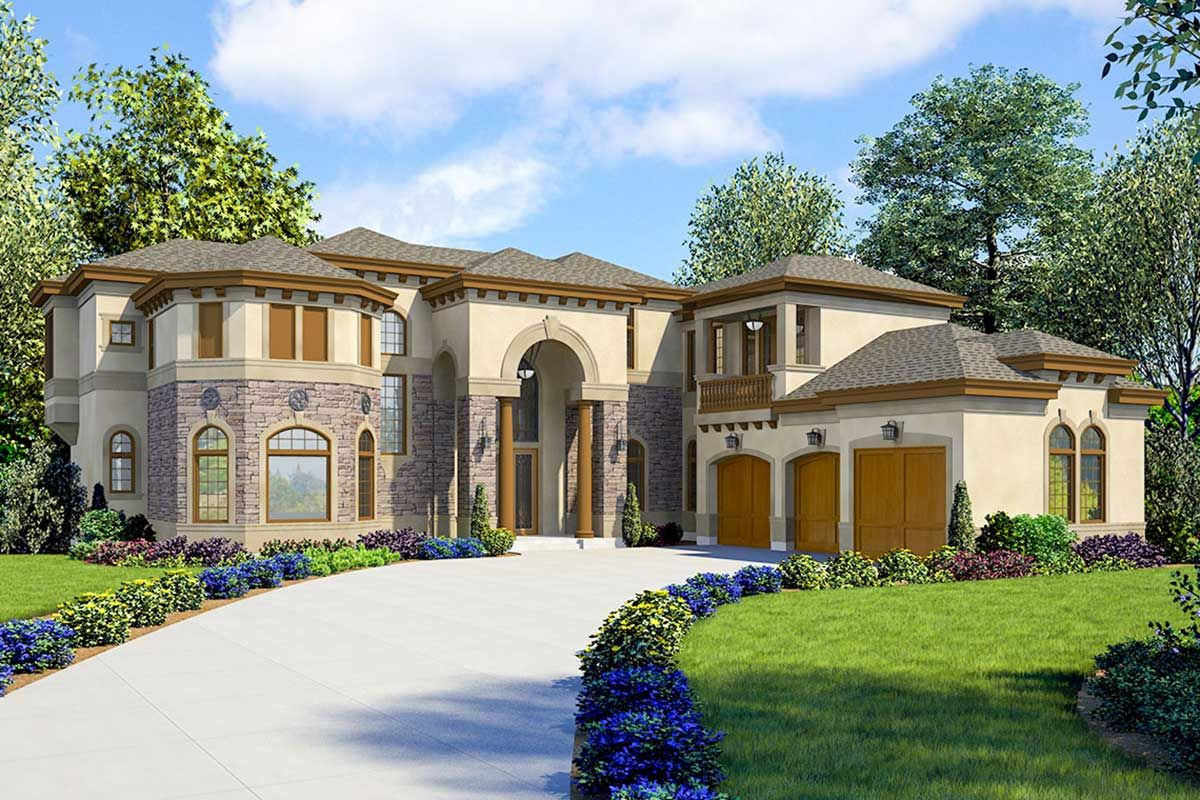 Plan 23781jd Striking 5 Bed Luxury House Plan With Spa And Media Room Luxury House Plans Basement House Plans House Plans