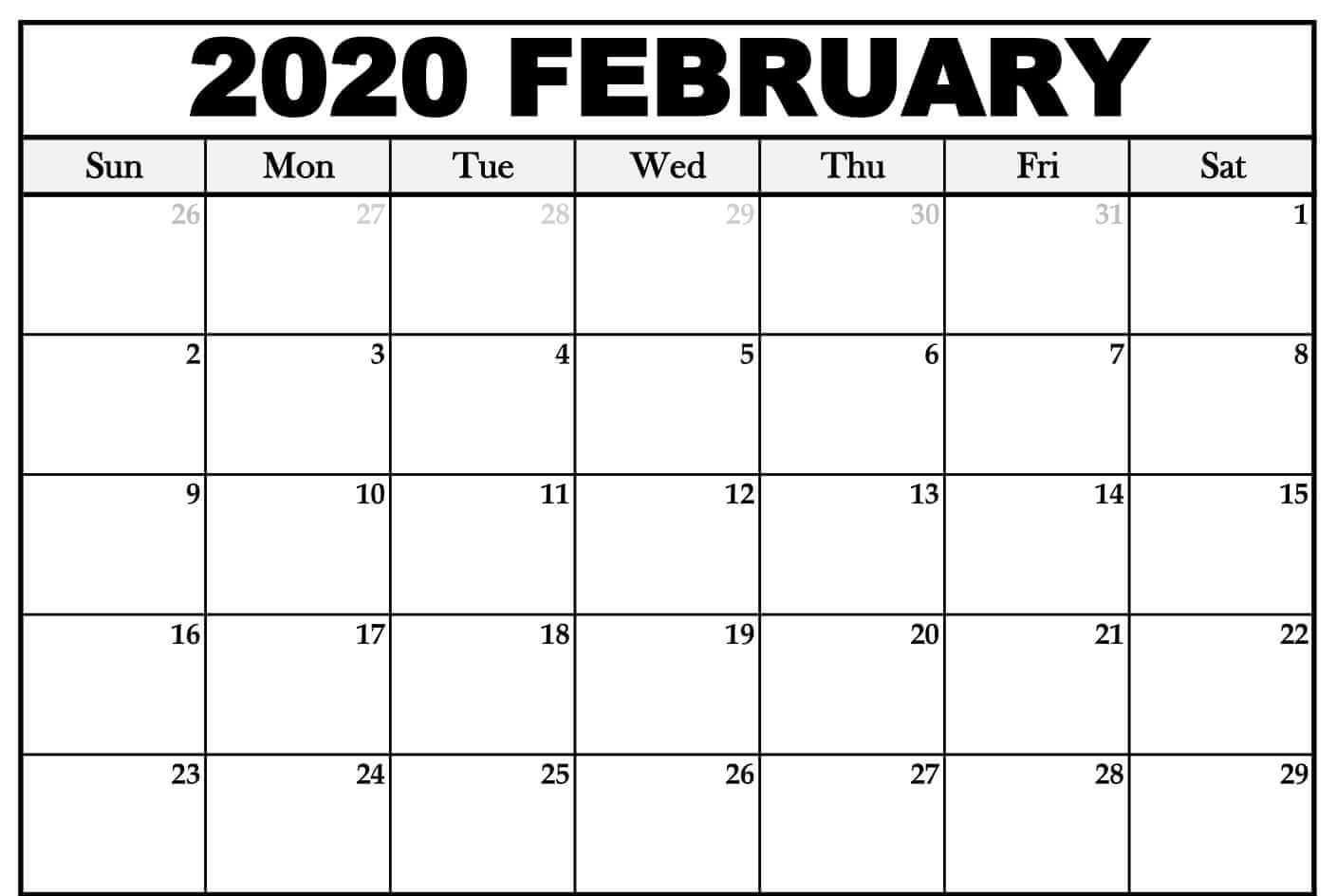 February Calendar Printable Template In Word