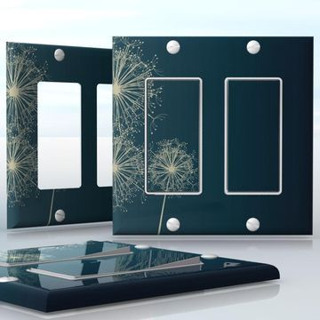 DIY Do It Yourself Home Decor - Easy to apply wall plate wraps | Midnight Dandelions  White Dandelions on dark blue  wallplate skin sticker for 2 Gang Decora LightSwitch | On SALE now only $4.95