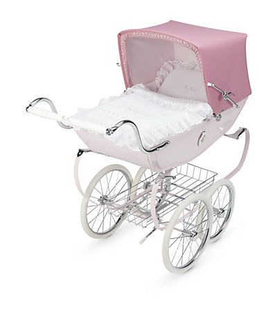 white with red bows Dolls//Toy Pram set to fit oberon silver cross