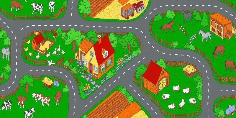 Speelkleed Op de boerderij. TIP!!   Verkeerstapijt   Speeltapijt, Speelkleed, Speelmat, Verkeerstapijt, Cars tapijt