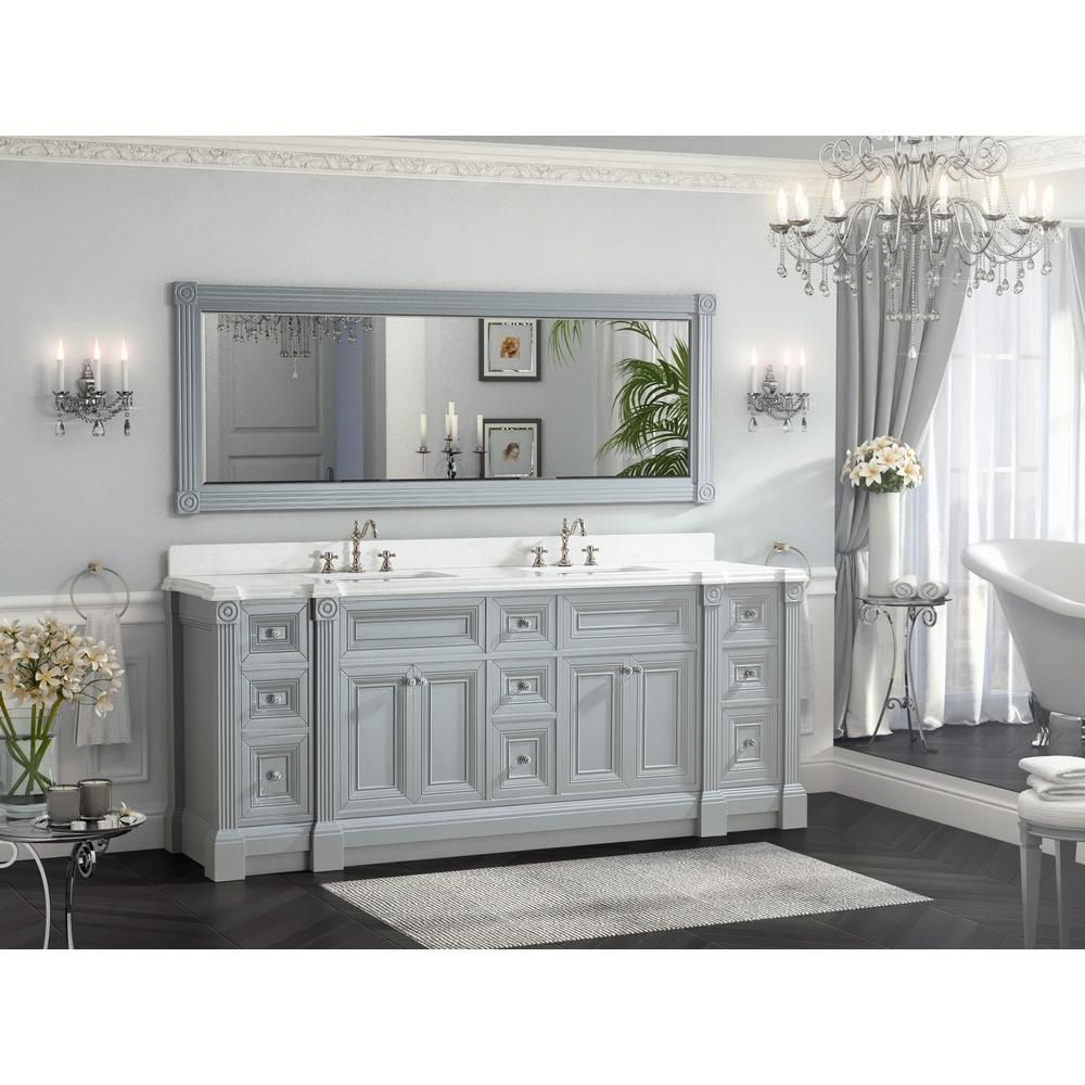 84 Inch Gray Finish Double Sink Bathroom Vanity Cabinet With