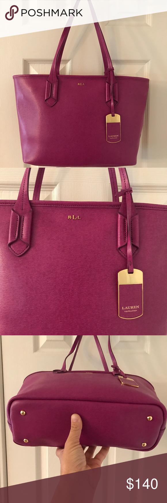 6b075bf30f4d 🛍HP 🎉 Ralph Lauren Magenta Saffiano Leather Tote Like new. Lauren Ralph  Lauren Bags