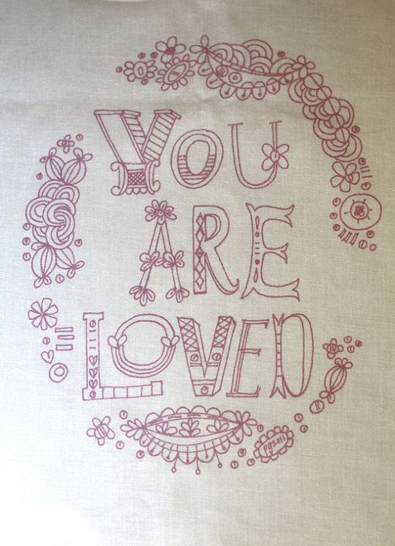 You Are Loved, purple embroidery sampler | Bordado | Pinterest ...