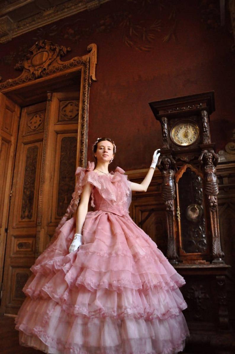Civil War Rose Dress 1860s Ball Gown Victorian Ball Gowns Ball Gowns Victorian Dress Gown [ 1196 x 794 Pixel ]