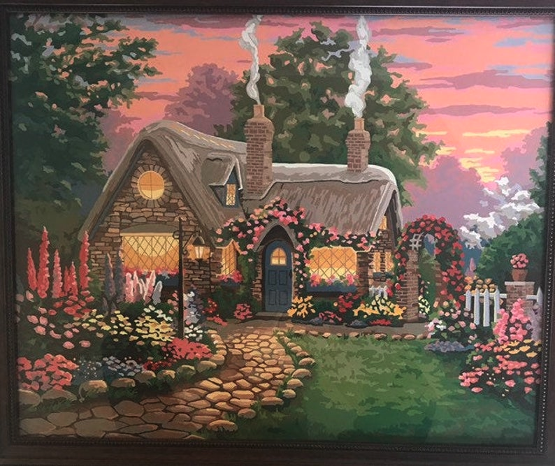 Vintage Paint By Number Country Cottage Scene Large Framed Etsy Cottage In The Woods Minecraft Cottage Vintage Painting