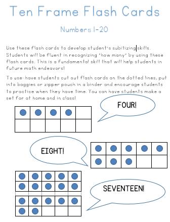 Ten Frame Flash Cards 1-20 | Pinterest | Ten frames, Subitizing and ...