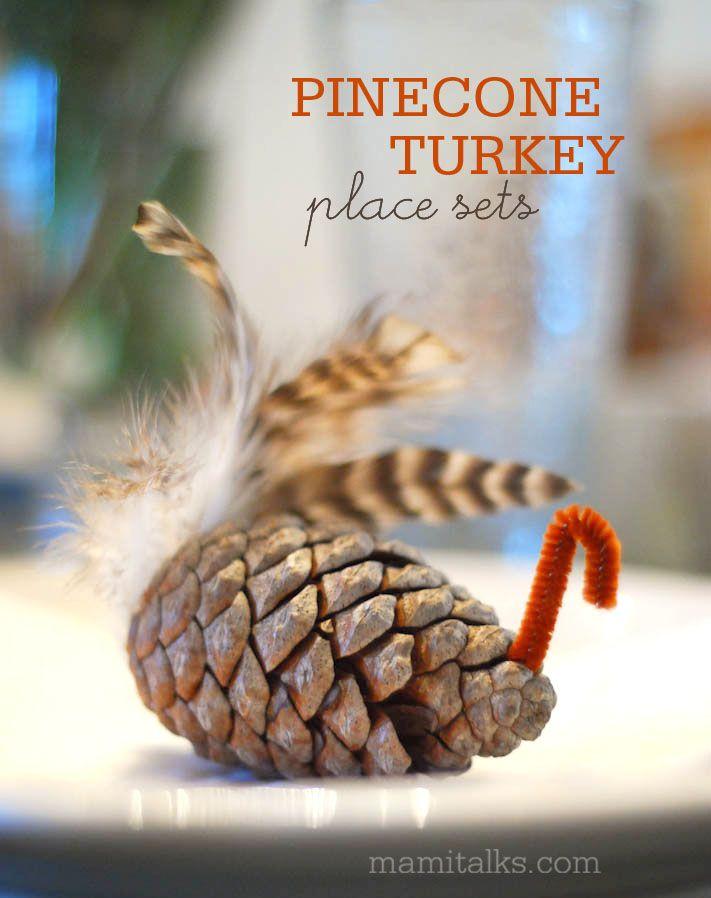Thanksgiving place sets - Pinecone turkeys