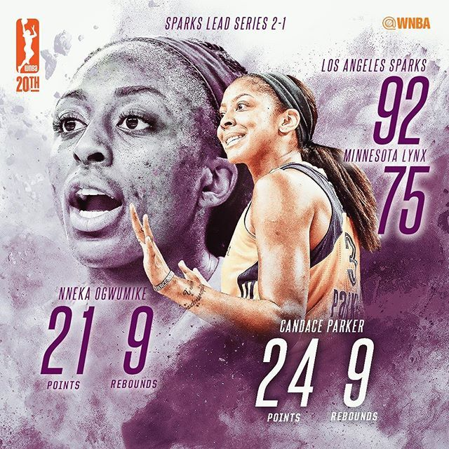 The @la_sparks take a 2-1 series lead behind BIG performances from @candaceparker and @nnemkadi. #WNBAFinals