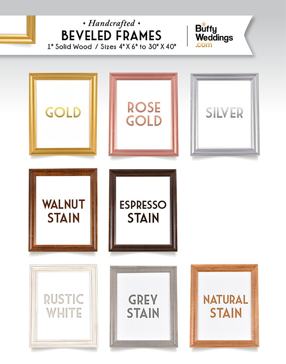 18 X 24 Gold Frame Solid Maple Wood Wedding Sign Frame Rose Gold