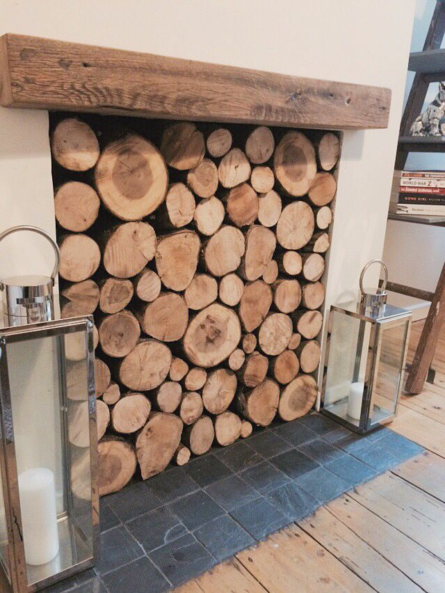 Autumnal Christmas Filled Log Fireplace With Reclaimed