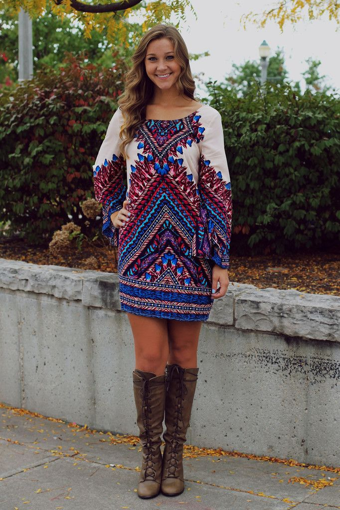 Boho Printed Bell Sleeves Shift Dress – UOIOnline.com: Women's Clothing Boutique