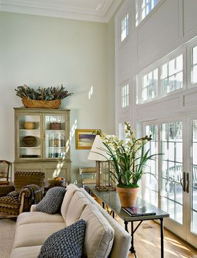 """Light Green Compliment to White Wall of Windows"" ""Farrow & Ball ""Ball Green"""" ""living room ight green"" ""light green paint color"" ""grecian g..."