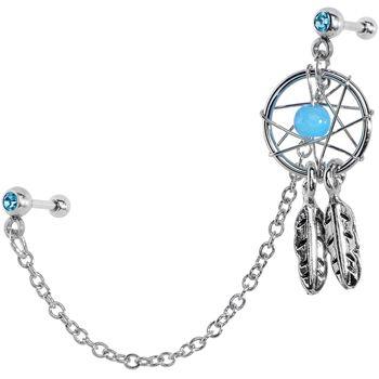 Dream Catcher Helix Earring Aqua CZ Dreamcatcher Cartilage Tragus Barbell Earring Chain 15