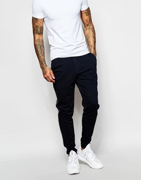 ASOS Skinny Joggers With Stripe In Navy