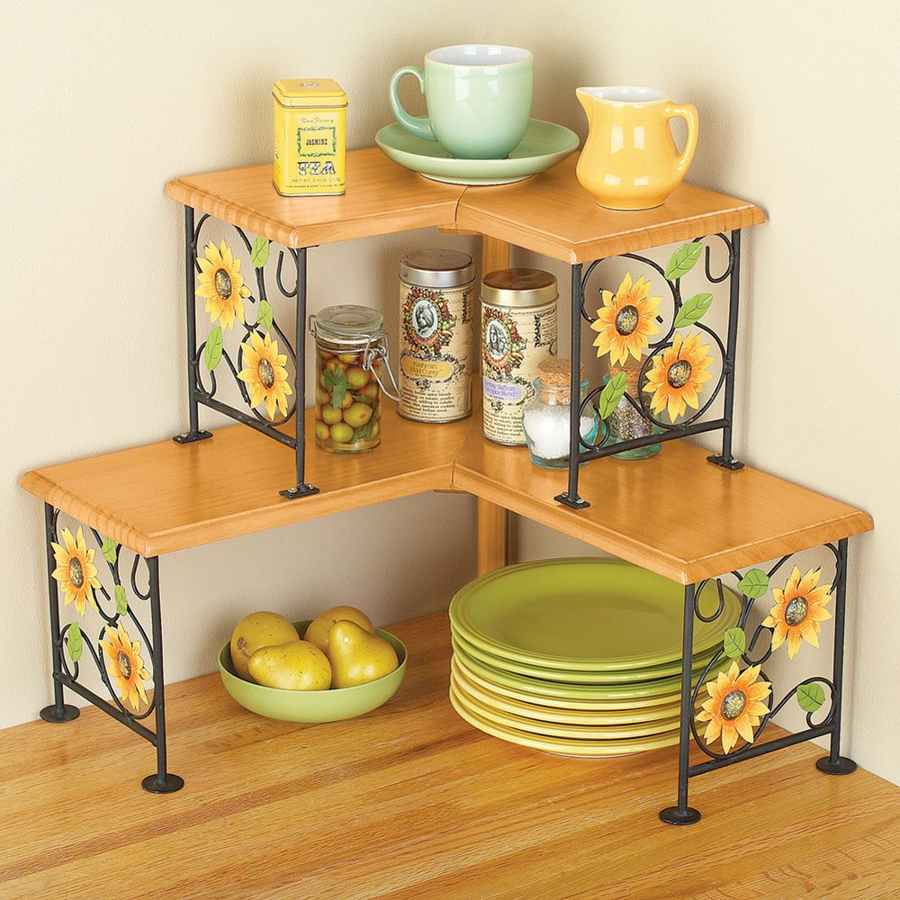Country Rooster Wood & Metal Two-Tiered Counter Top Corner Shelf ...